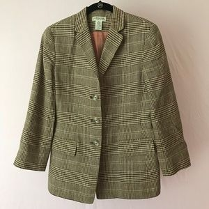 Vintage Ann Taylor Linen/Silk/Wool Blazer Brown